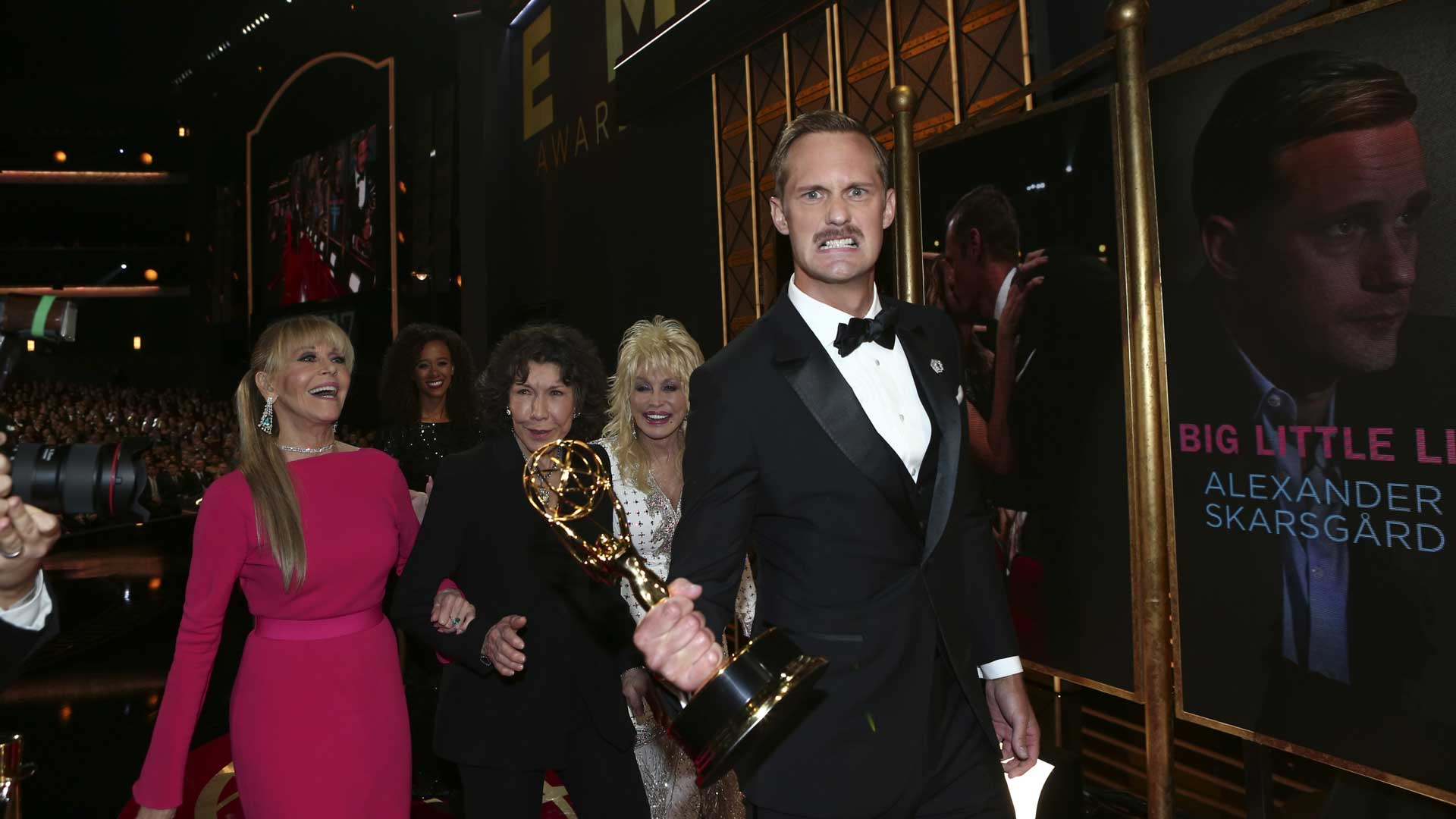 Alexander Skarsgård growls with excitement after winning the Emmy for Outstanding Supporting Actor In A Limited Series Or Movie.