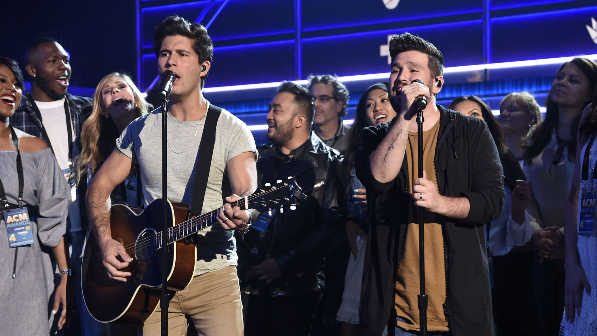 Dan + Shay are the life of the party during their rehearsal for Sunday night's big show!