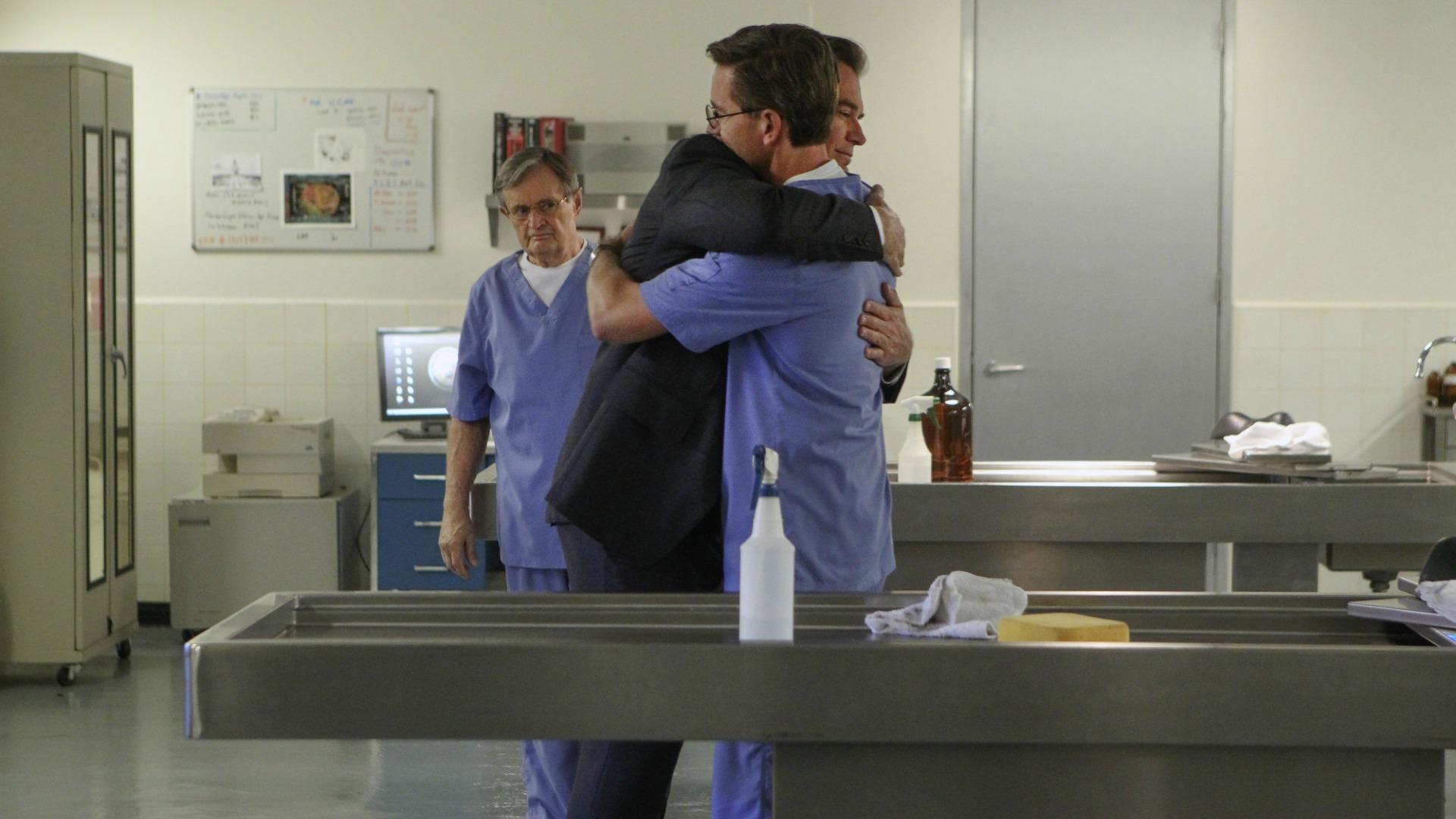 DiNozzo hugs Palmer.