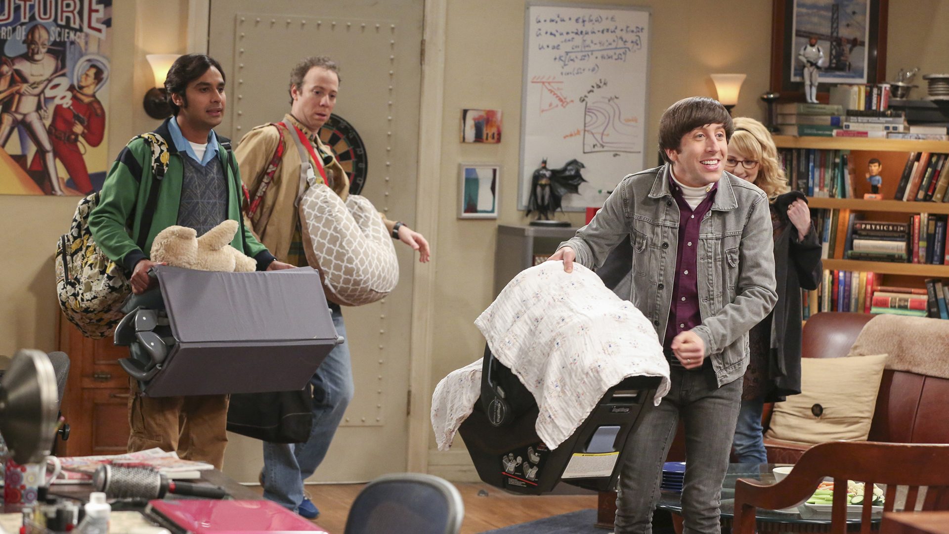 Raj, Stuart, Howard, and Bernadette arrive with baby Halley.