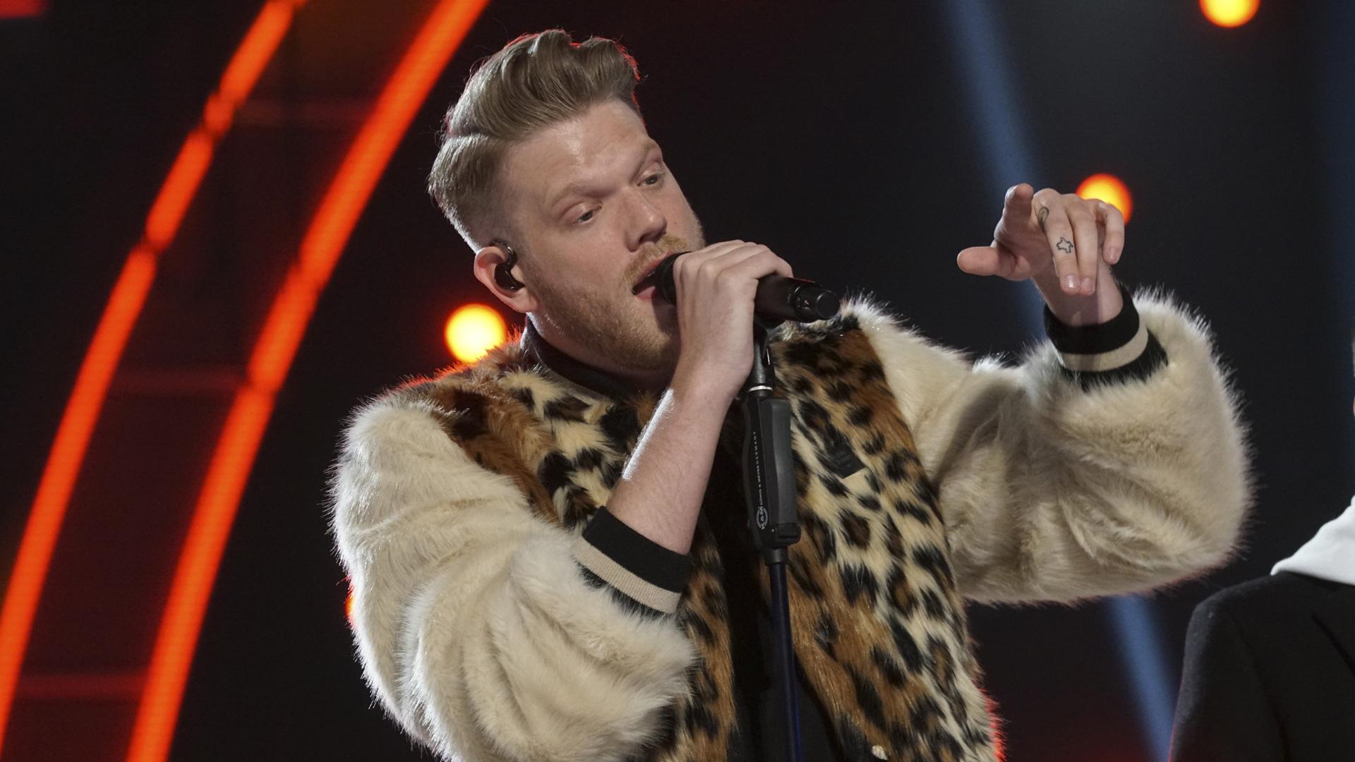 Pentatonix singer Scott Hoying looks like he's really feeling his performance.