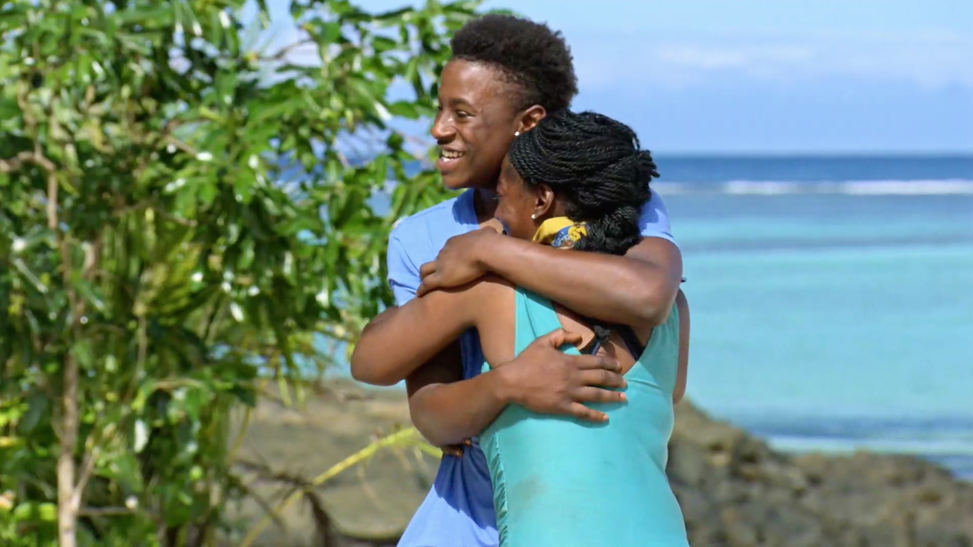 Season 34: Cirie Fields grabs a hold of her son.