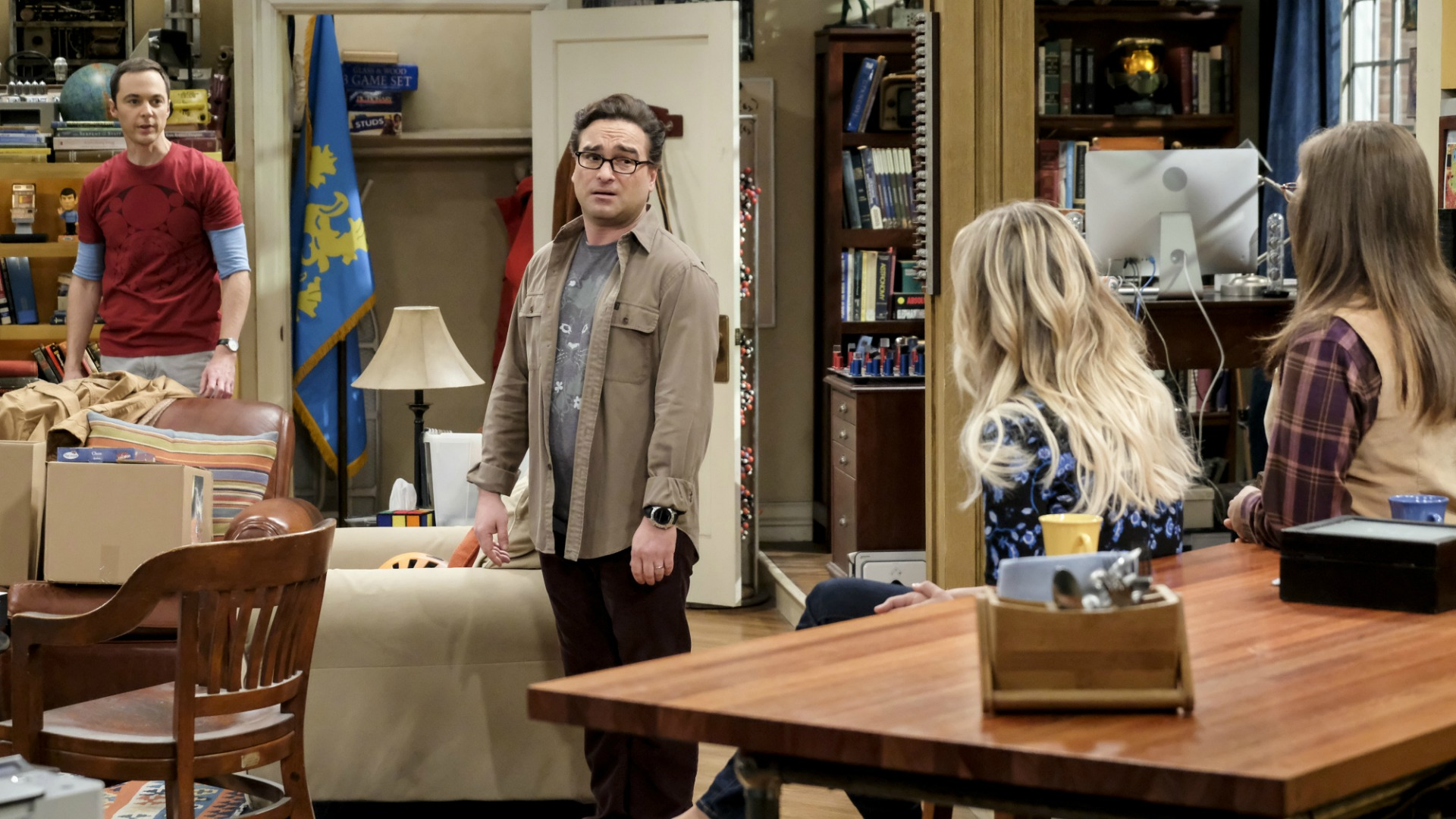 Sheldon, Leonard, Penny, and Amy discuss divvying up their belongings.