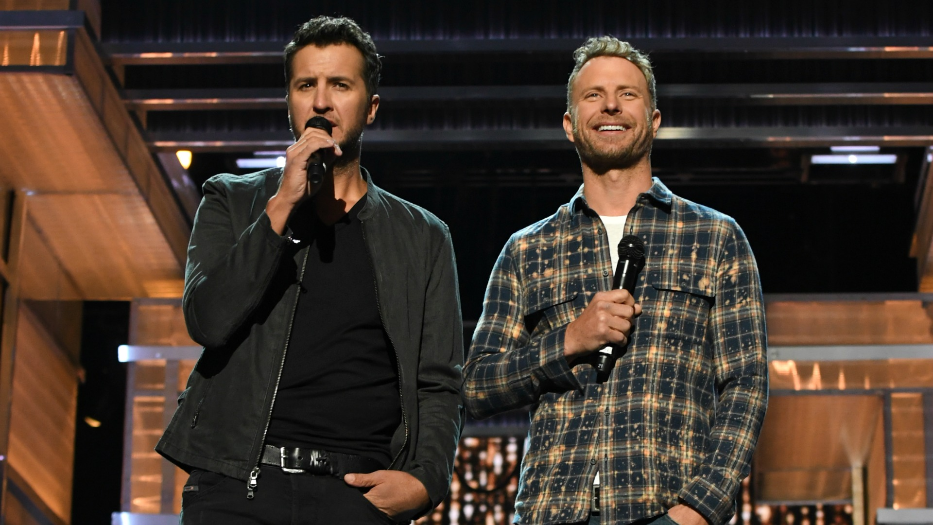 Co-hosts Luke Bryan and Dierks Bentley hit the stage for a run through of the 52nd ACM Awards.