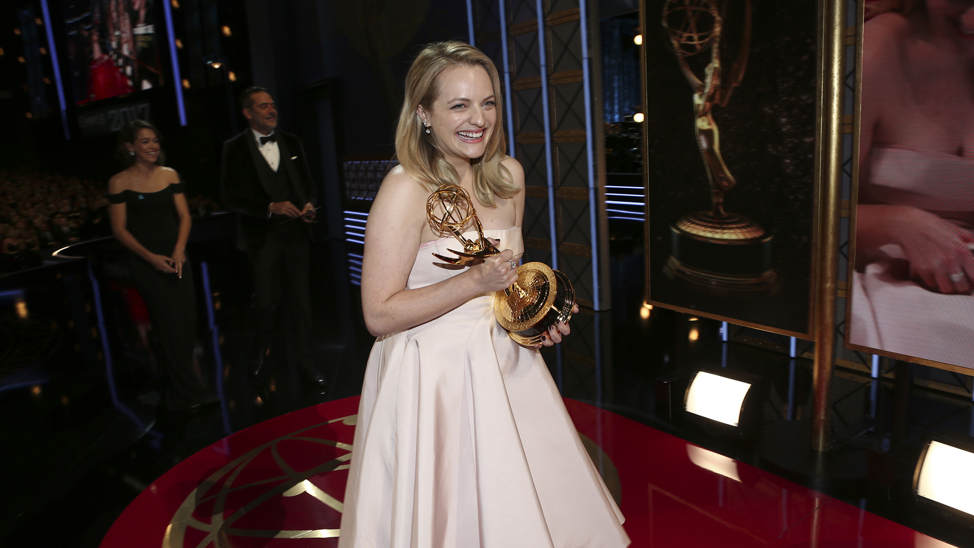 Elisabeth Moss wins Outstanding Lead Actress in a Drama Series at The 69th Emmy Awards.