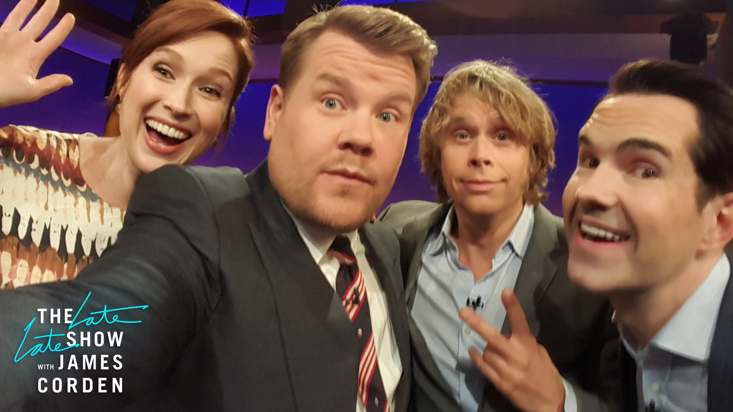 Ellie Kemper, Eric Christian Olsen and Jimmy Carr
