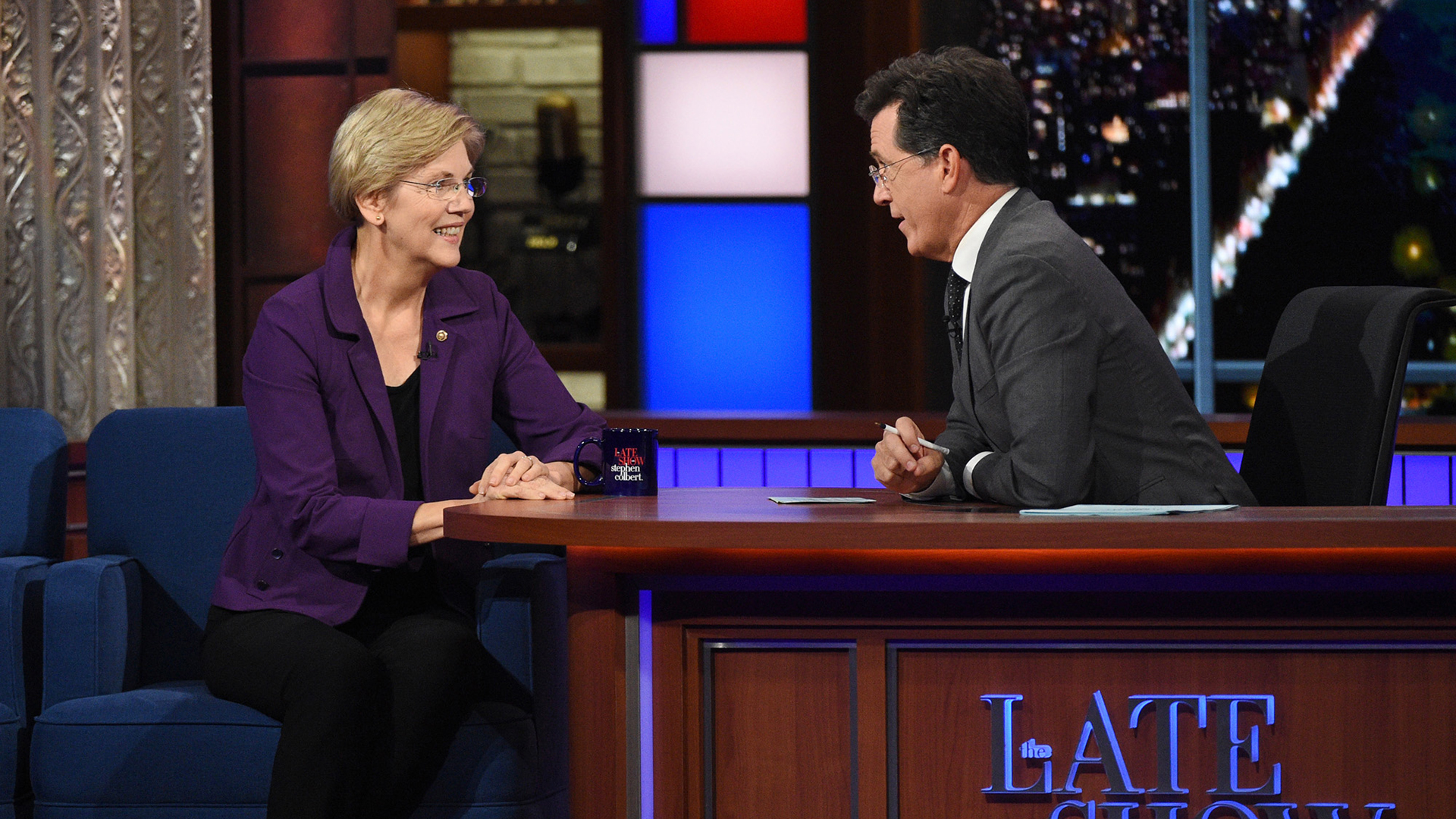 Elizabeth Warren and Stephen Colbert