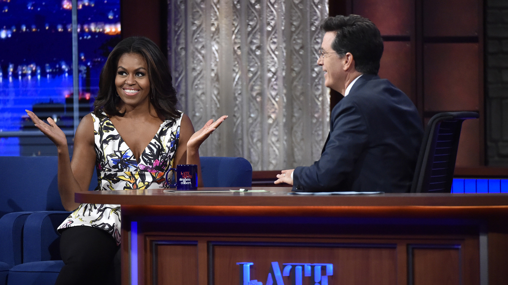 Michelle Obama and Stephen Colbert