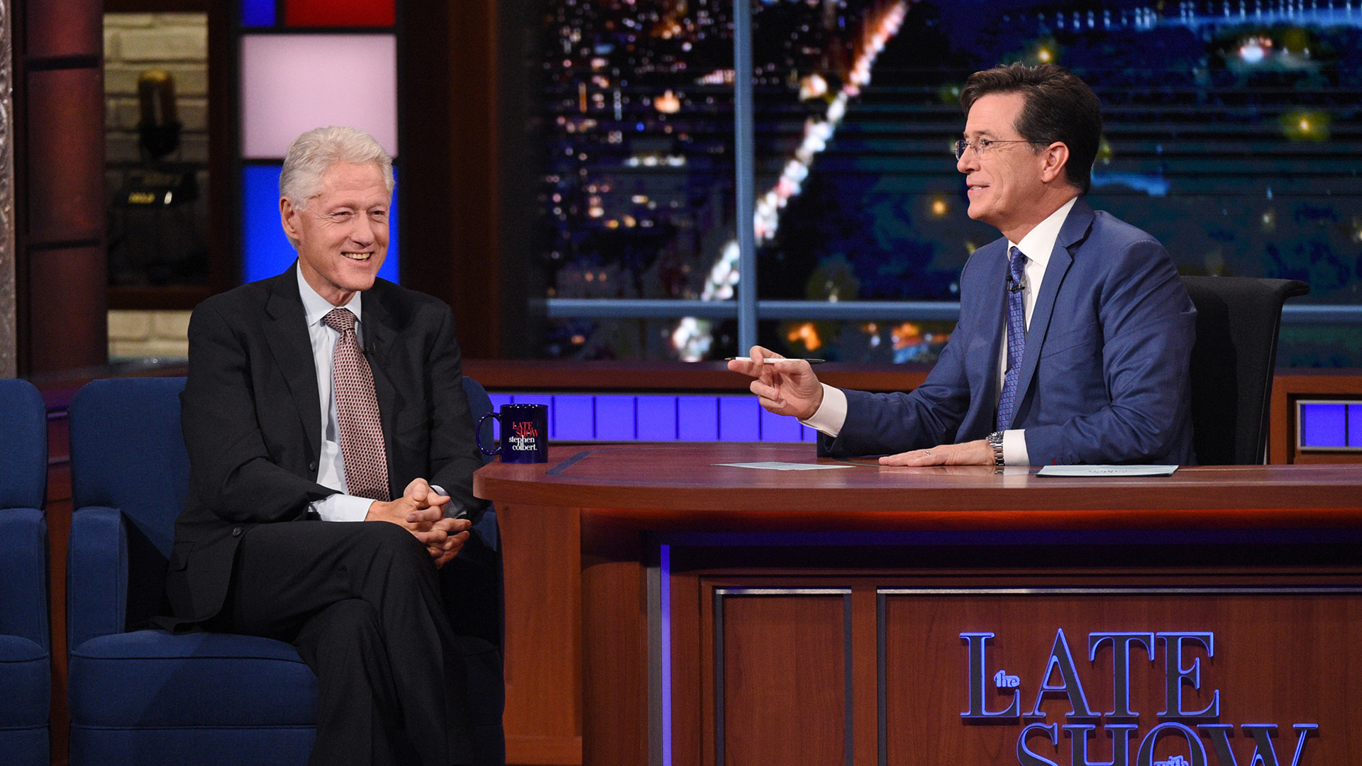 Bill Clinton and Stephen Colbert