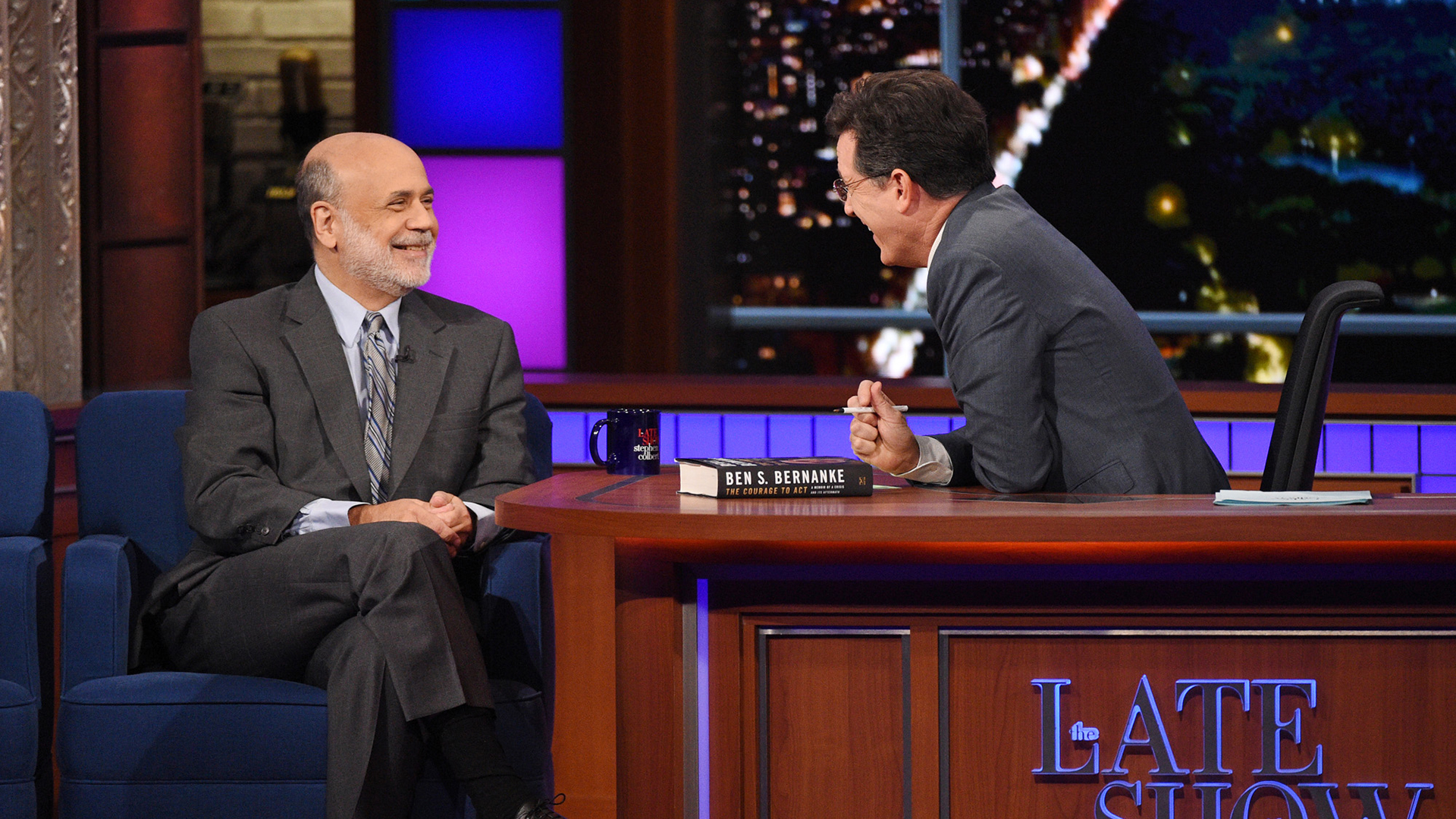 Ben Bernanke and Stephen Colbert