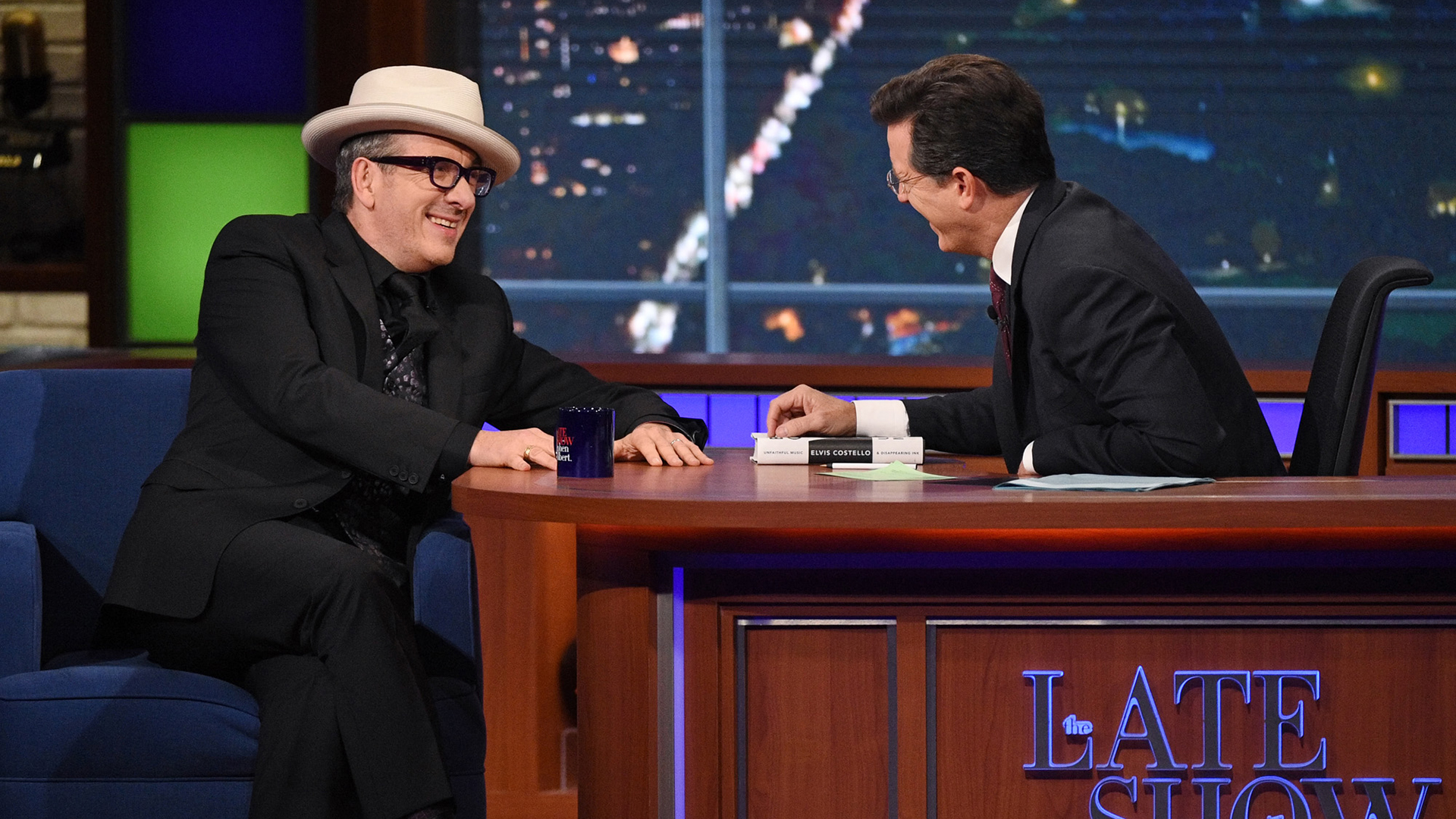 Elvis Costello and Stephen Colbert