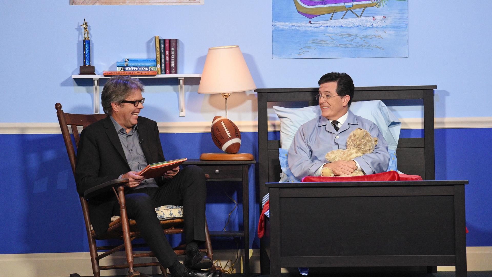 Jonathan Franzen and Stephen Colbert