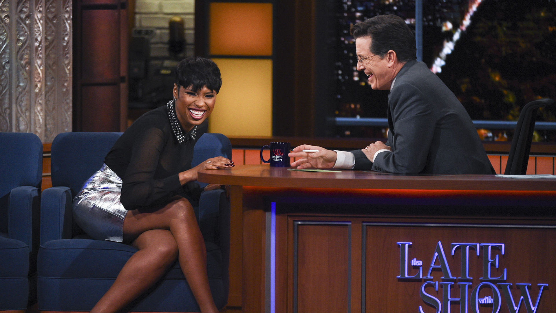 Jennifer Hudson and Stephen Colbert