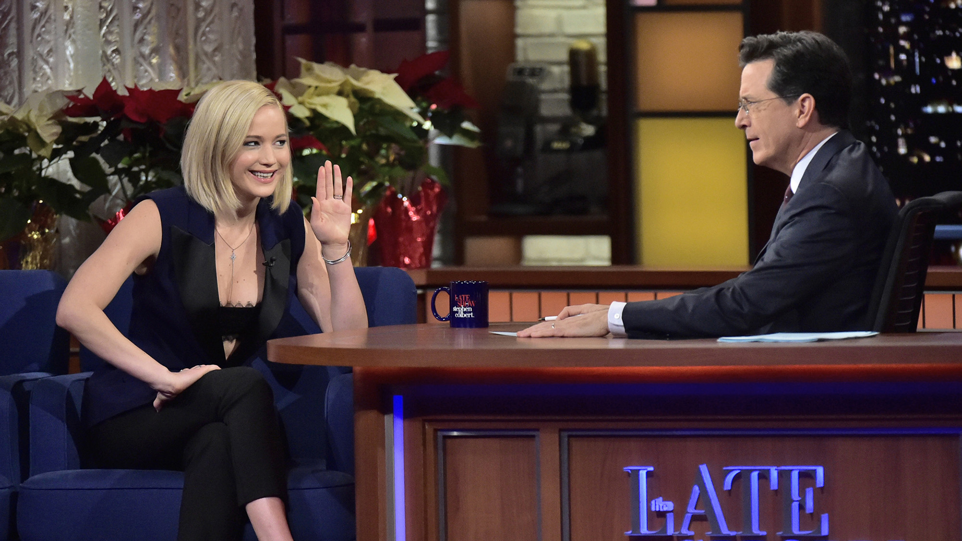 Jennifer Lawrence and Stephen Colbert