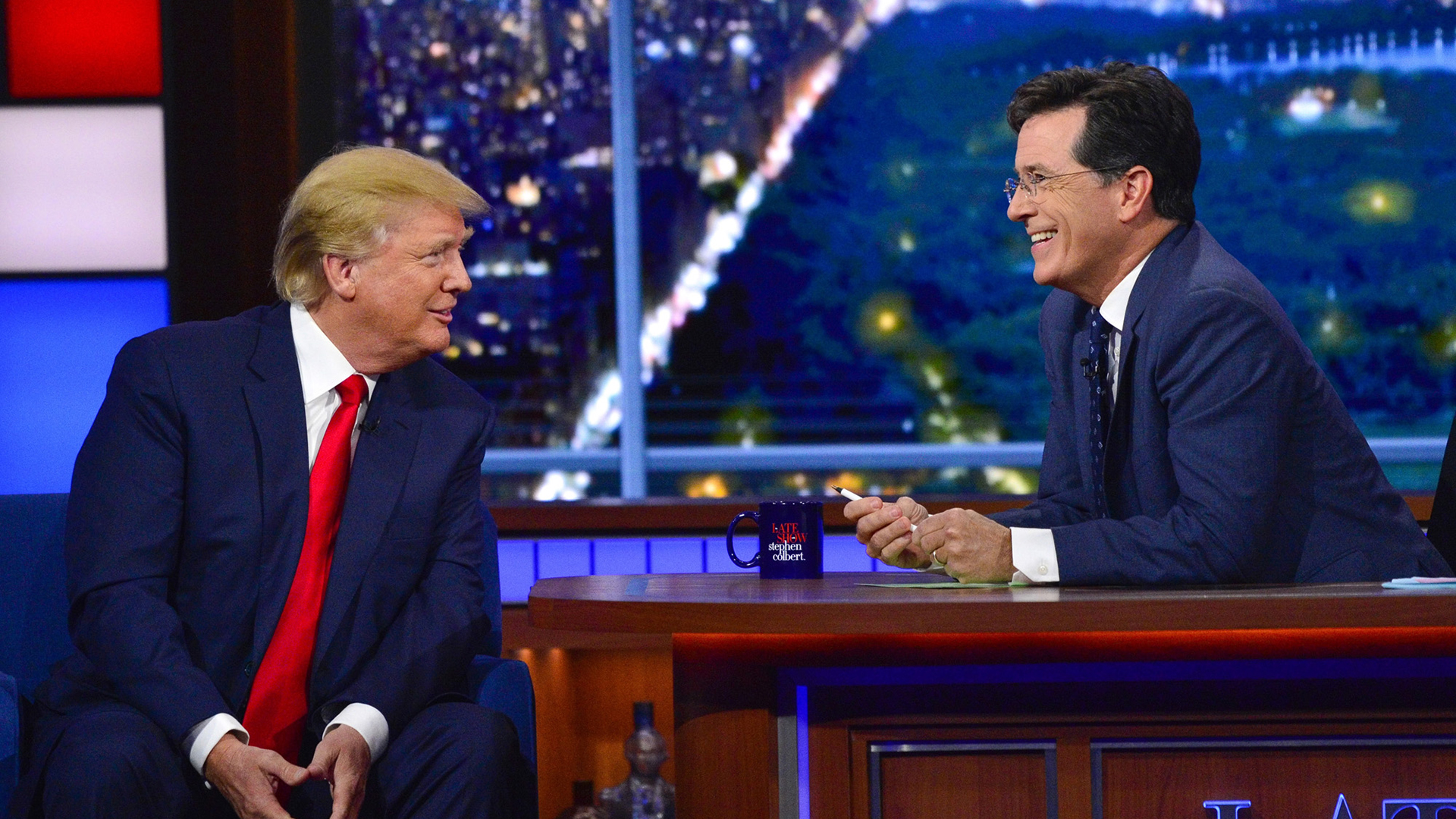 Donald Trump and Stephen Colbert