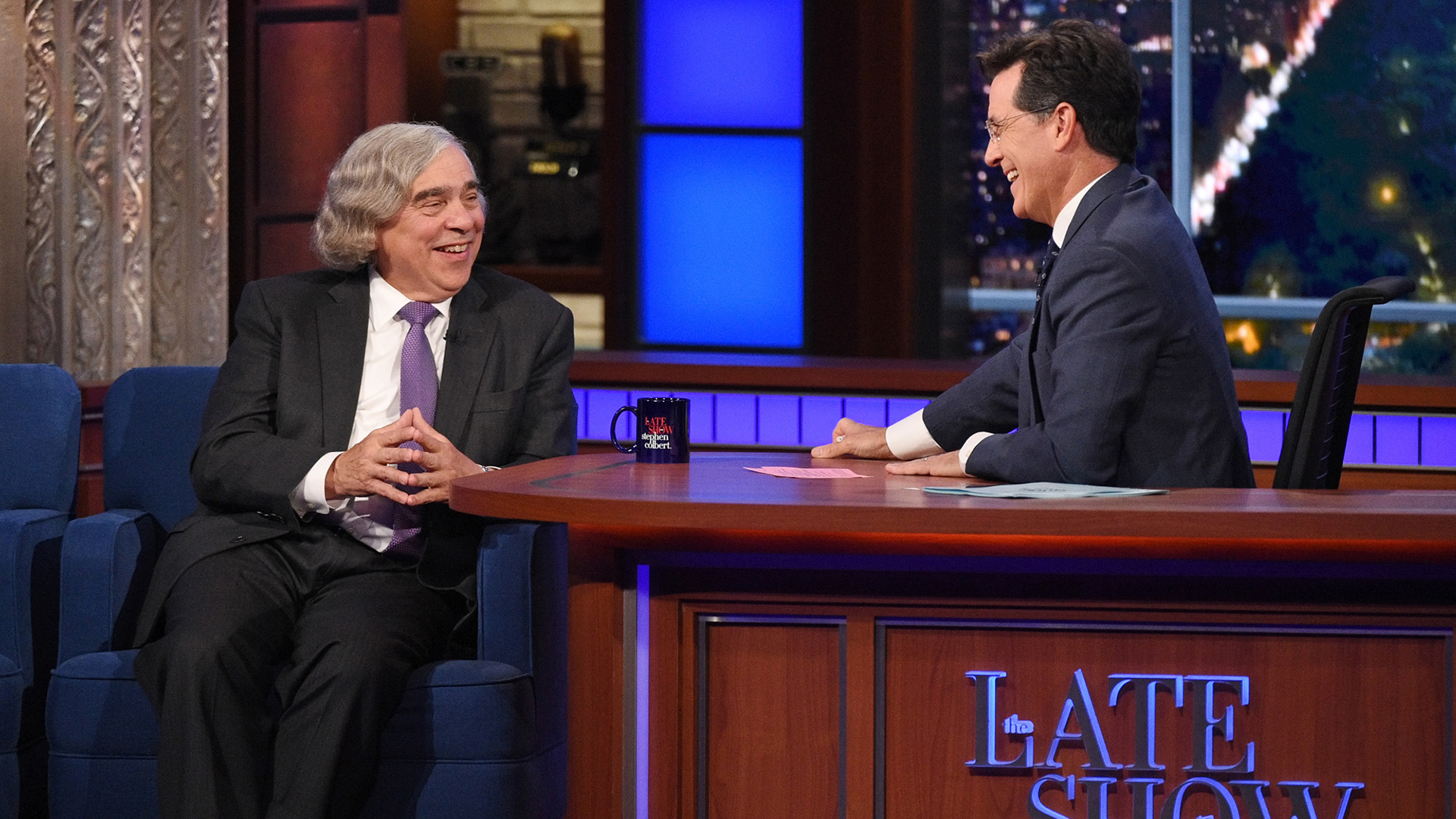 Dr. Ernest Moniz and Stephen Colbert