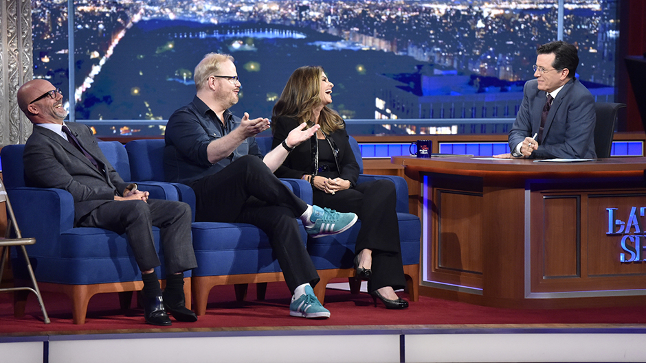 Jim Gaffigan, Maria Shriver, Andrew Sullivan, and Stephen Colbert