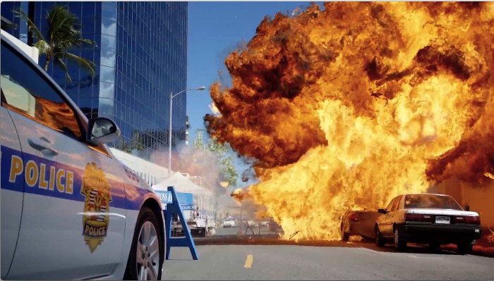 The explosion at the start of the episode was fueled by ten gallons of gasoline.