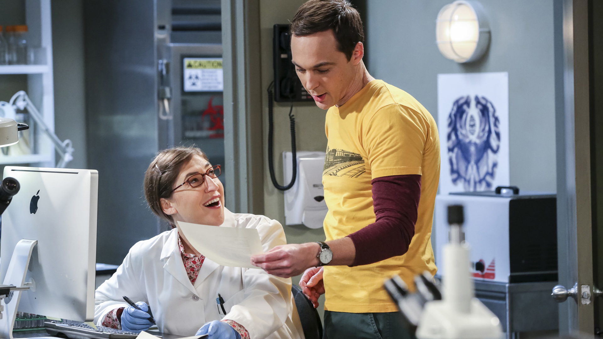 Sheldon is surprised by the results of Amy's lab experiment.