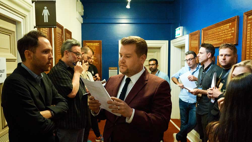 James Corden and his writers wait to use the toilet.