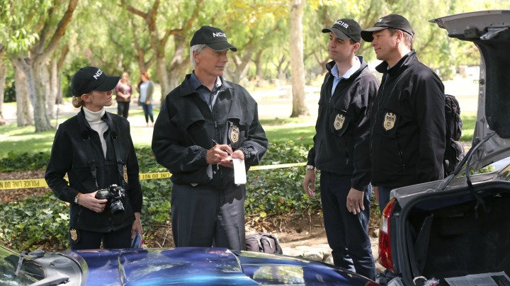 Emily Wickersham as Ellie Bishop, Mark Harmon as Leroy Jethro Gibbs, Sean Murray as Timothy McGee, and Michael Weatherly as Anthony DiNozzo