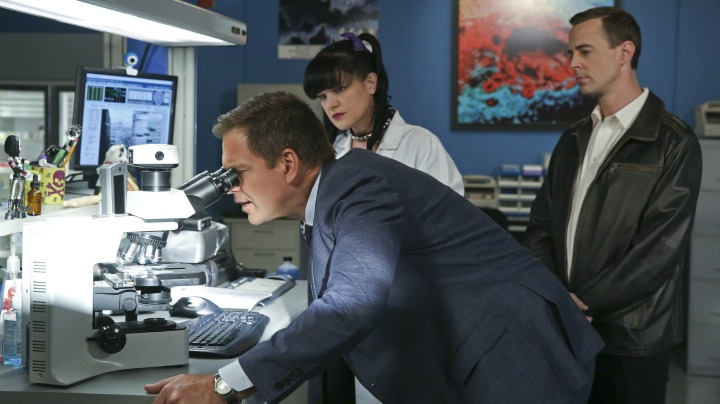 Michael Weatherly as Anthony DiNozzo, Pauley Perrette as Abby Sciuto, and Sean Murray as Timothy McGee