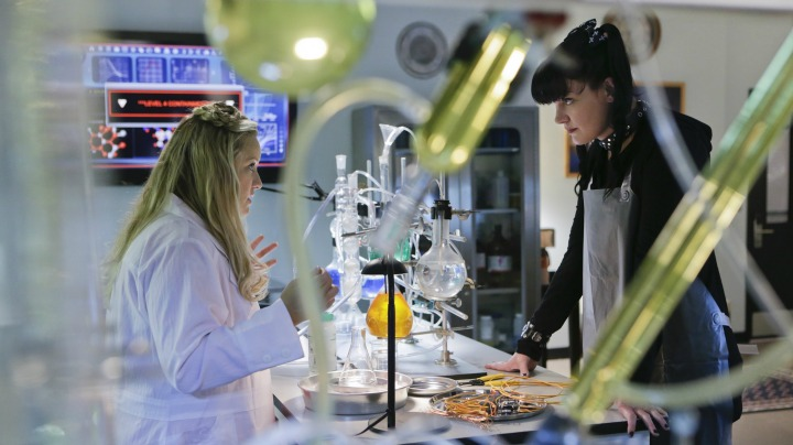 Pauley Perrette as Abby Sciuto and Lucy Davis as Doctor Janice Brown