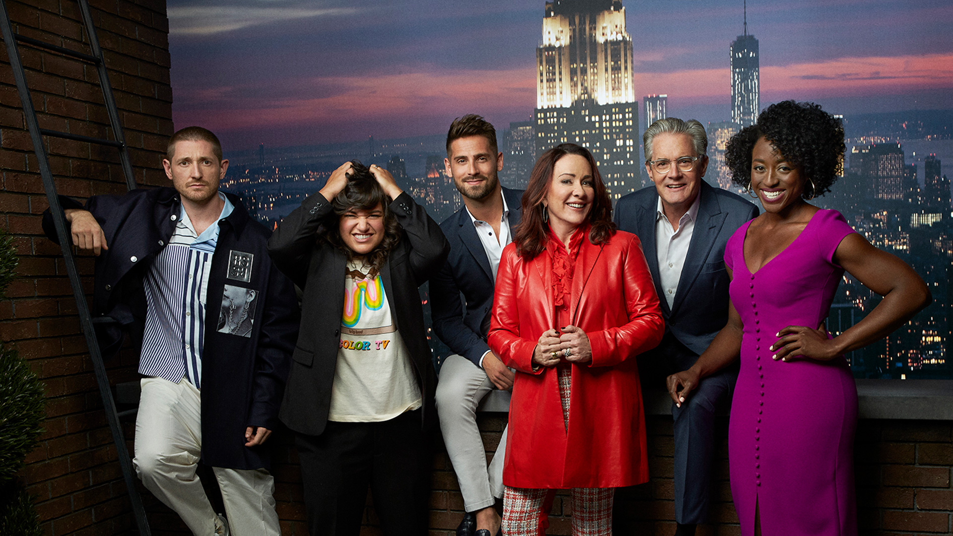 Carol's Second Act: Lucas Neff, Sabrina Jalees, Jean-Luc Bilodeau, Patricia Heaton, Kyle MacLachlan, and Ito Aghayere