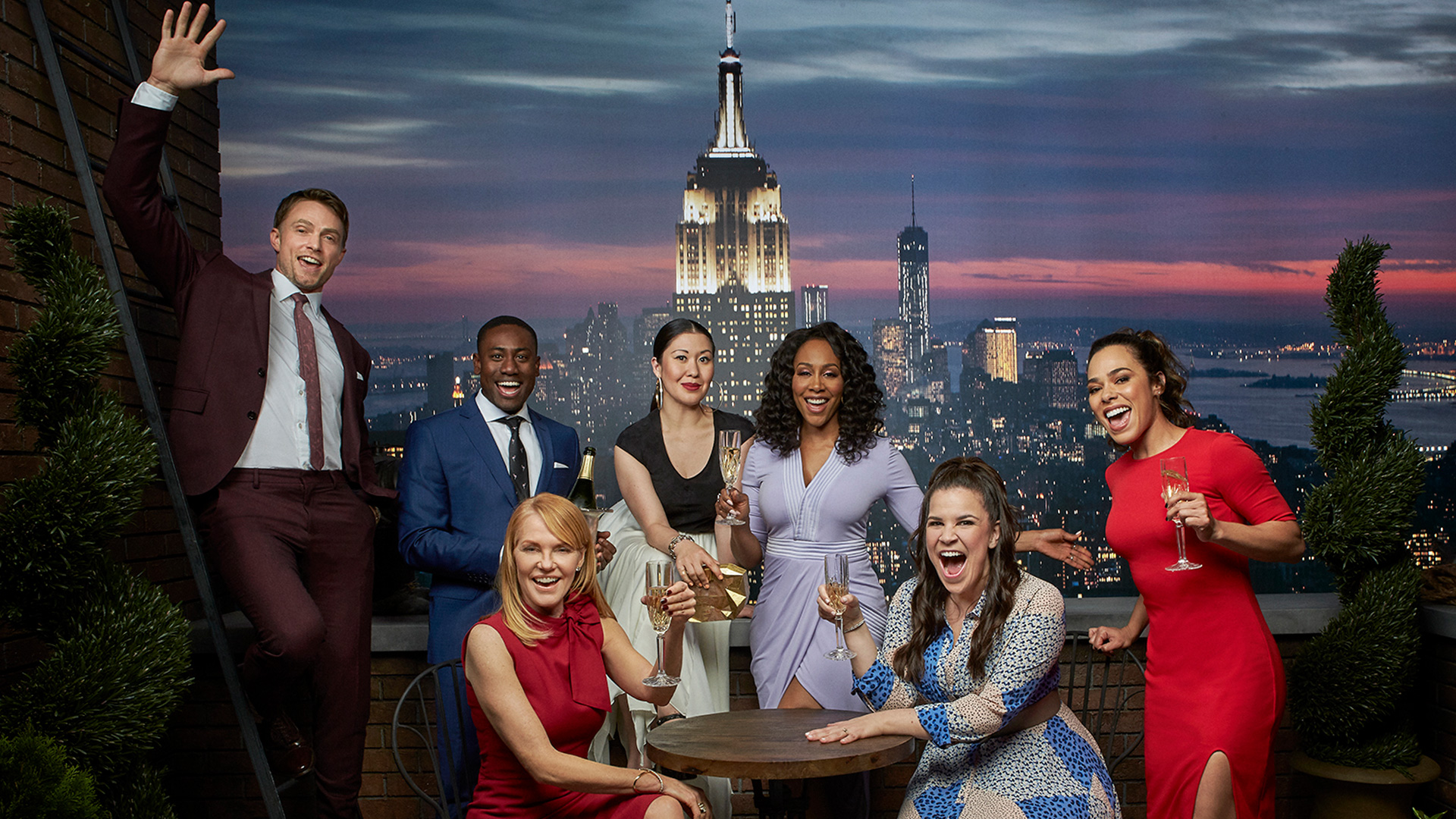 All Rise: Wilson Bethel, J. Alex Brinson, Marg Helgenberger, Ruthie Ann Miles, Simone Missick, Lindsay Mendez, and Jessica Camacho