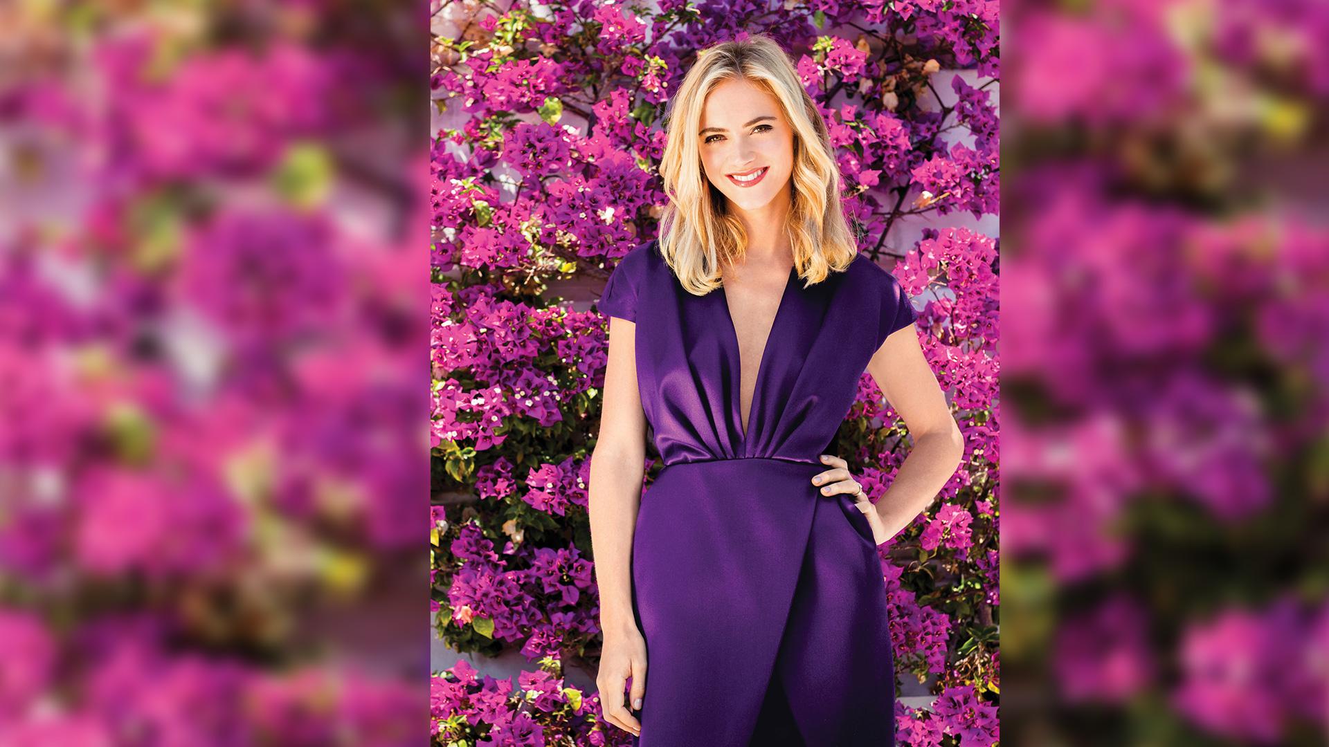 Emily Wickersham looking oh-so-pretty in purple