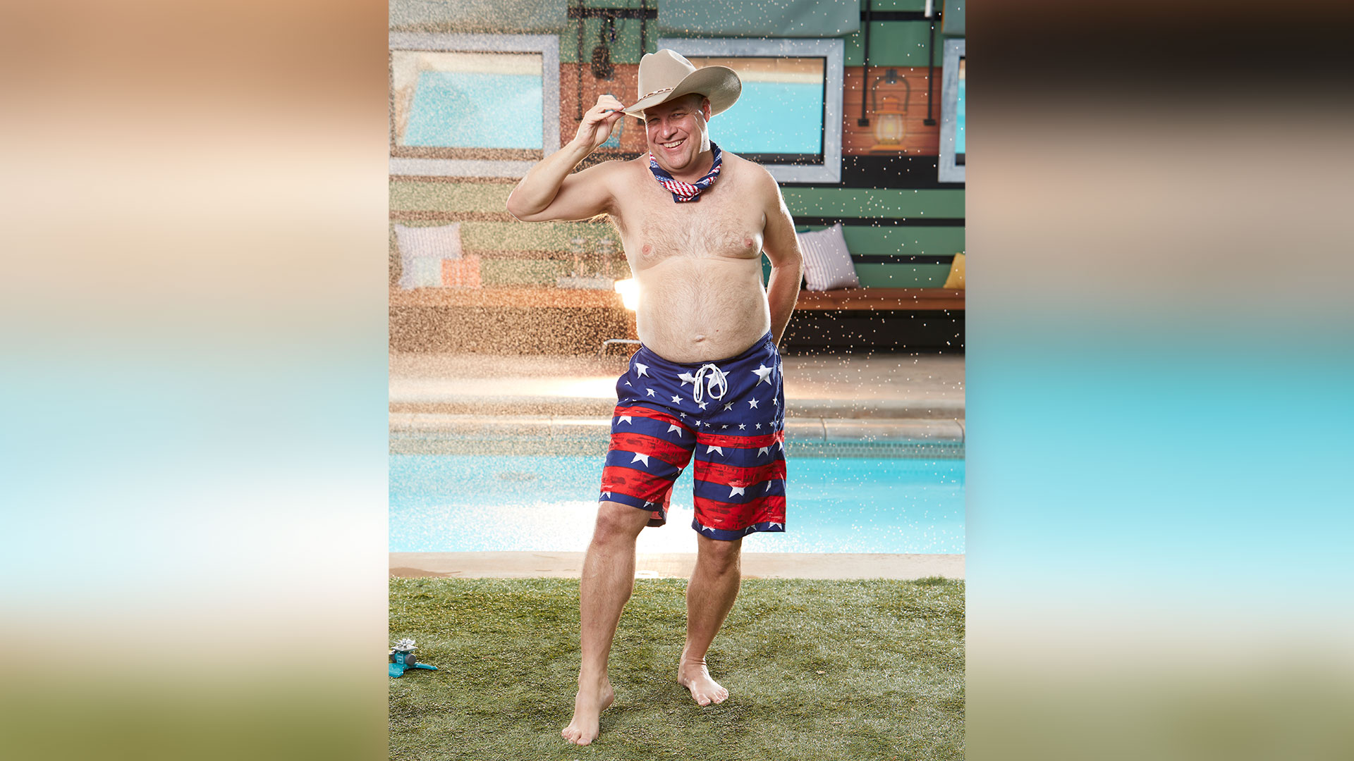 Cliff Hogg III shows us how the Texans lounge poolside with a cowboy hat and plenty of stars and stripes.