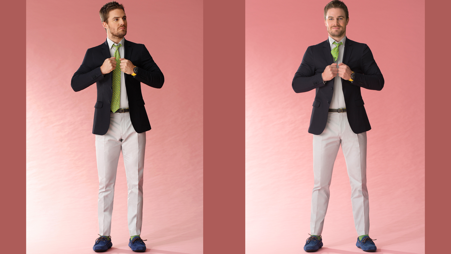 Clearly playing fashion model also suits Stephen Amell to perfection