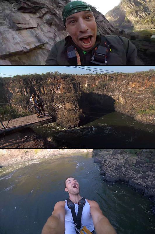 2. Eight racers took an insane free fall at the Batoka Gorge.