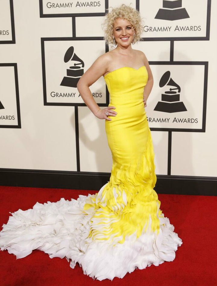 Cam makes a sunny appearance on the 2016 GRAMMYs red carpet.