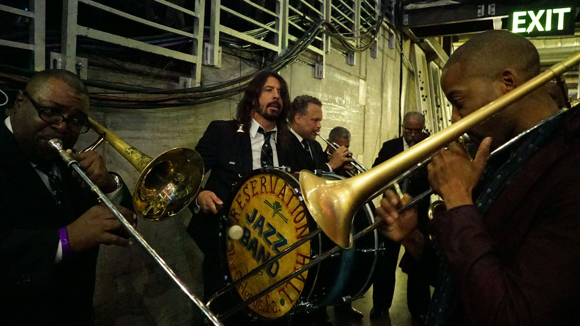 Dave Grohl keeps the beat with the Preservation Hall Band and Trombone Shorty