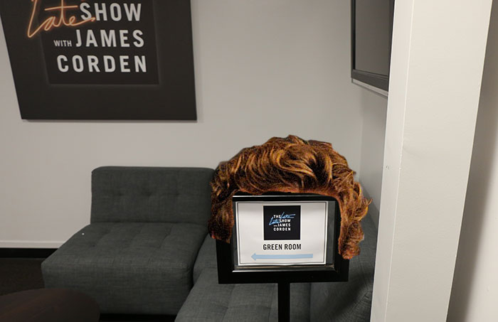 Simon Baker's hair trying to get an invite into green room