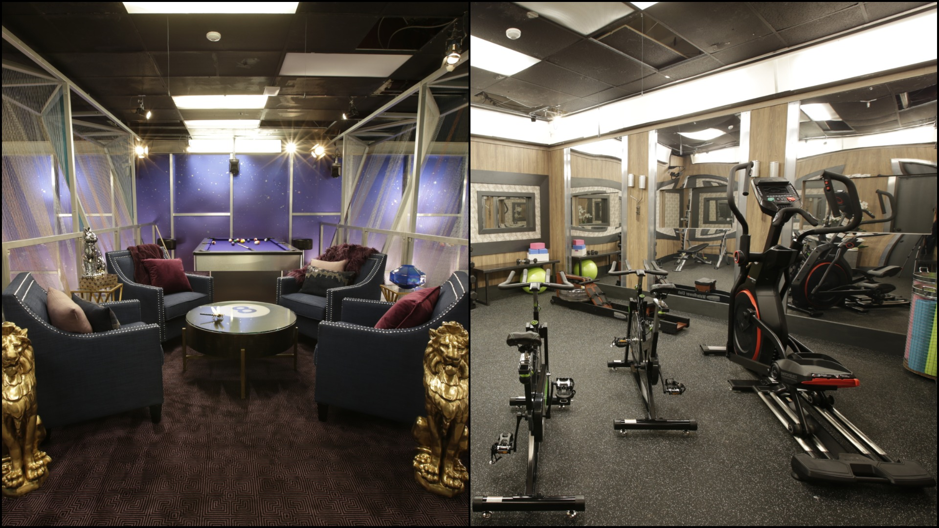 The Houseguests can break a sweat whenever they want in the 24/7 indoor gym.