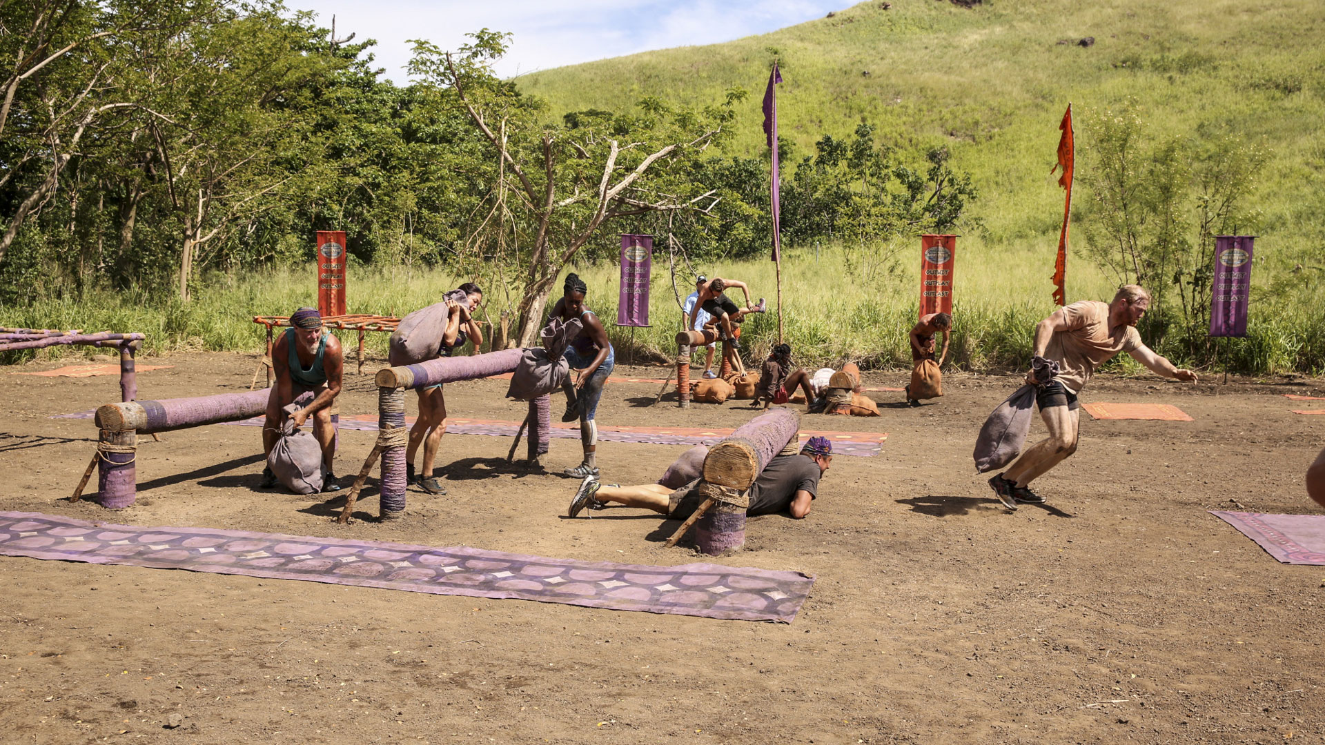 After host Jeff Probst explains the challenge, the tribes take off.