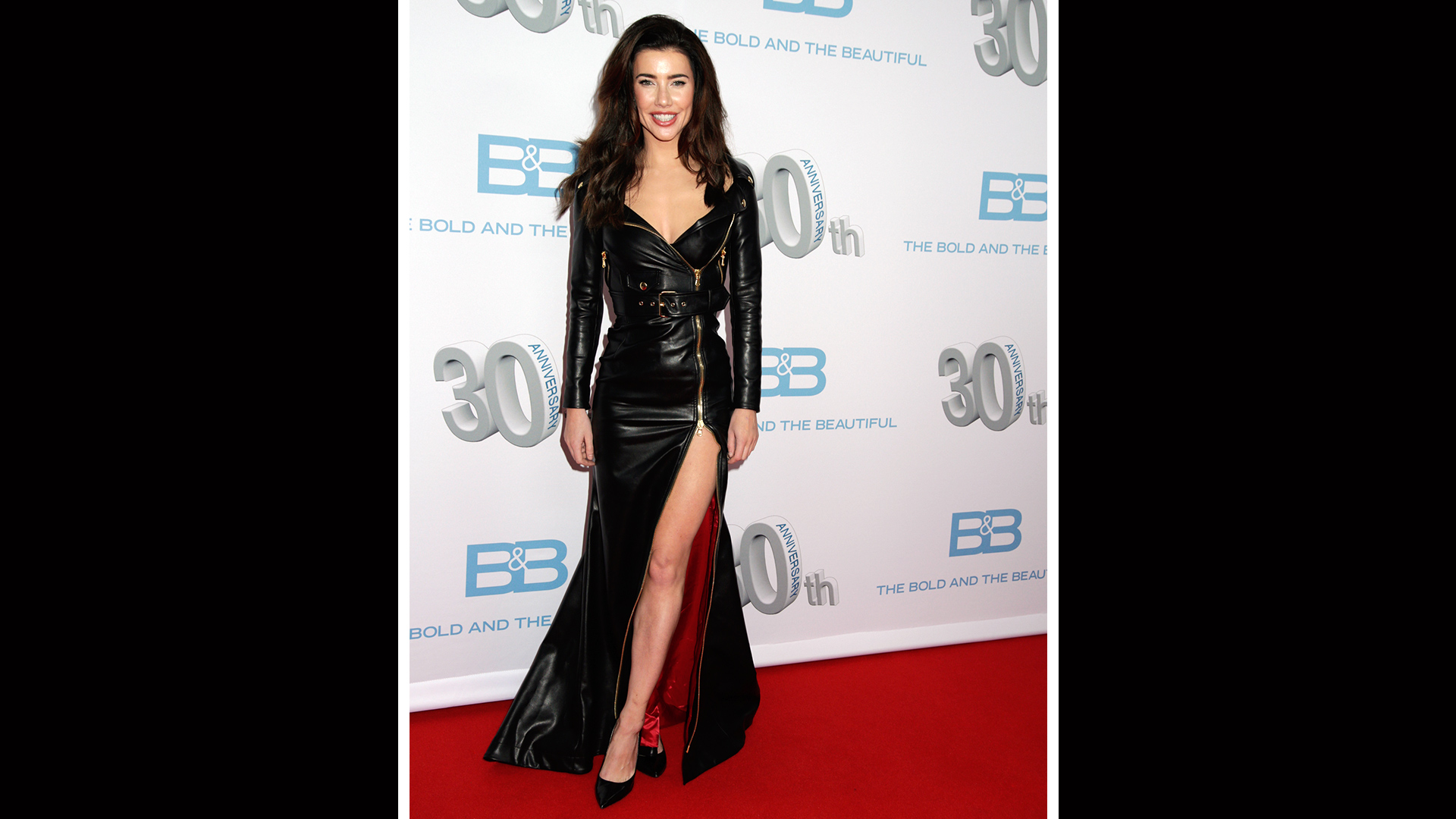 Jacqueline MacInnes Wood makes an appearance in an edgy leather dress.