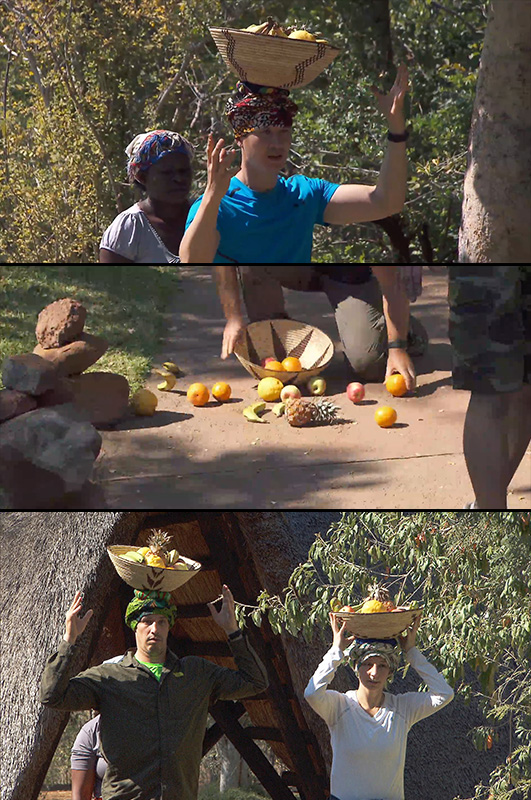 8. The teams fumbled with fruit at the Pit Stop.