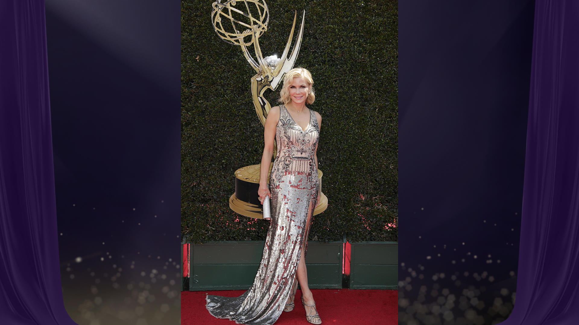 Katherine Kelly Lang from The Bold and the Beautiful is positively statuesque in this metallic floor-length sequin gown.
