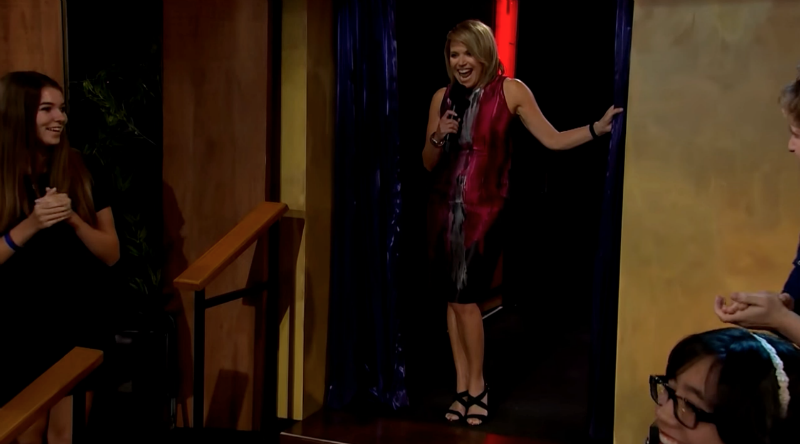 Katie Couric is glowing with prank spirit.