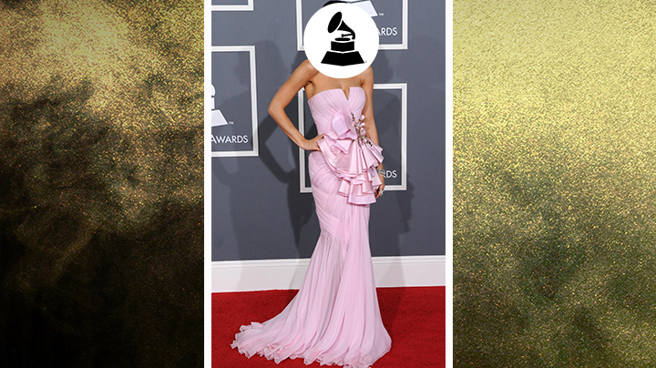 Who wore this bubblegum-pink dress with statement-making ruffles?
