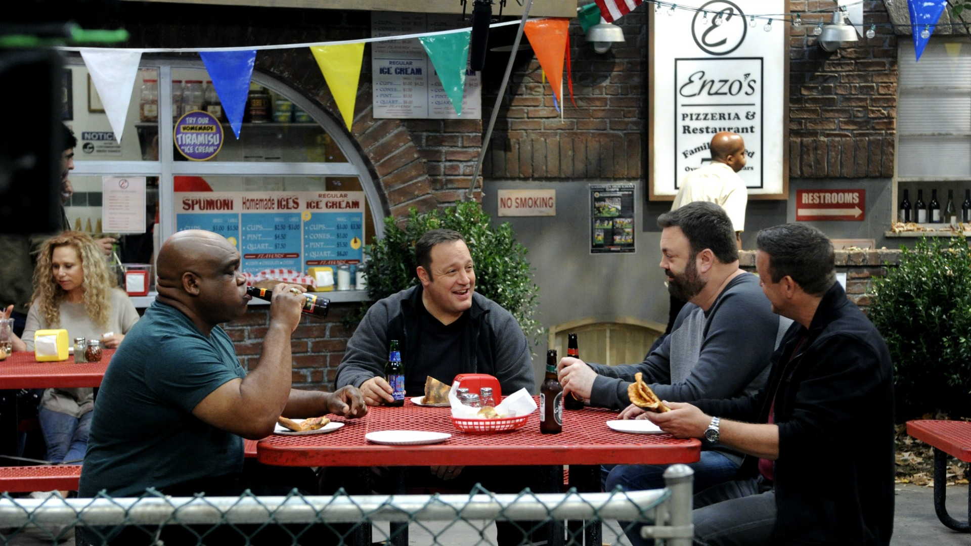 Kevin has lunch with the guys.