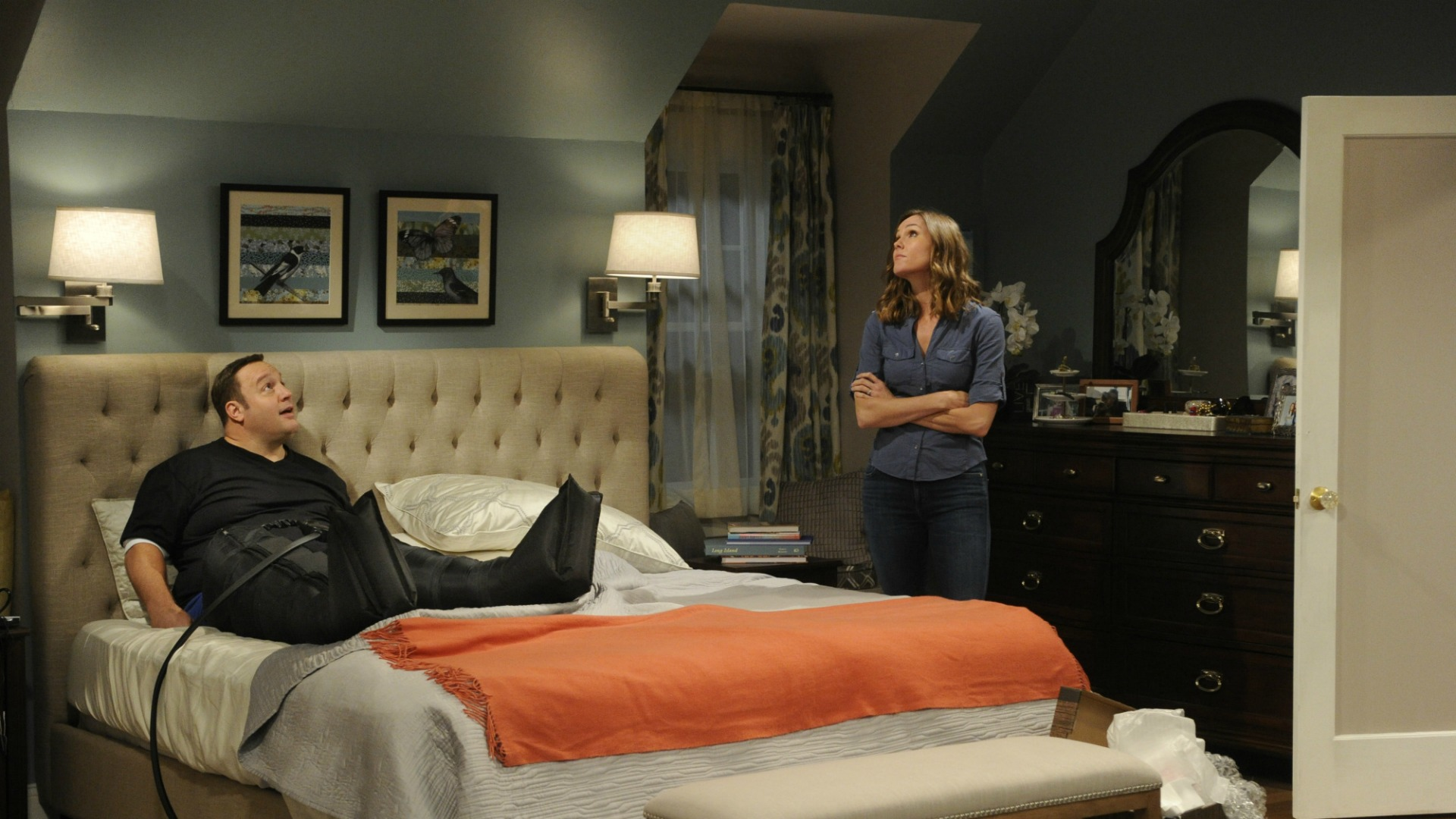 Donna inspects Kevin's new changes.