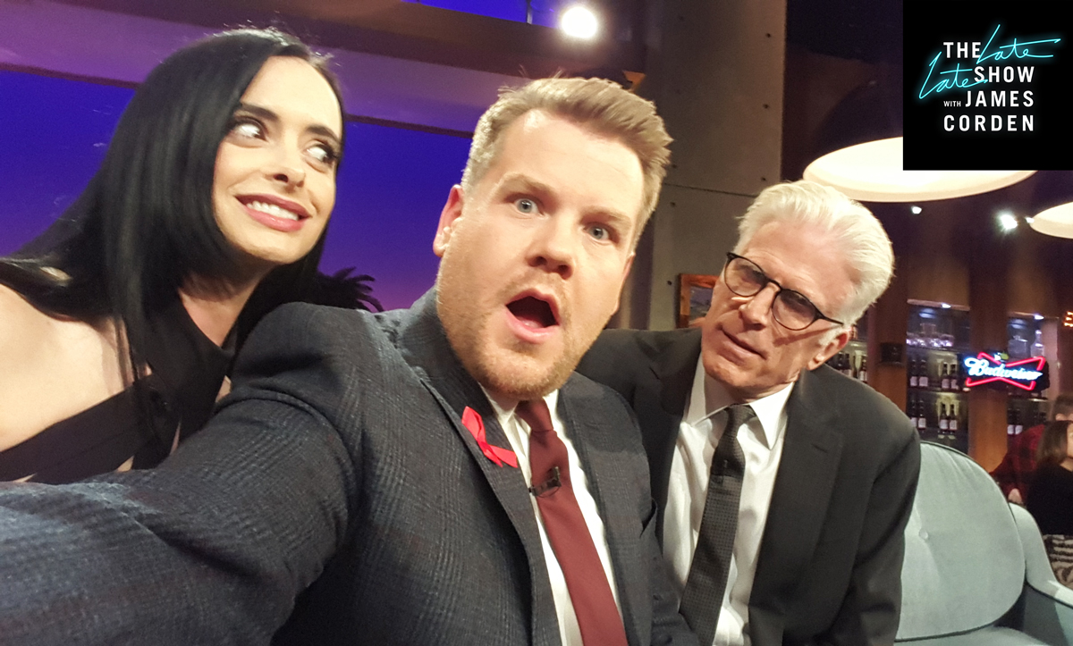 Ted Danson stares down James with Krysten Ritter