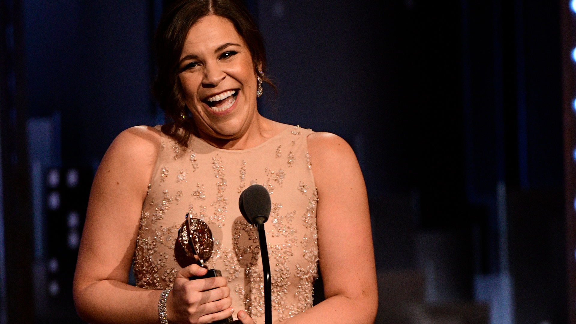 Lindsay Mendez wins Best Featured Actress in a Musical at the 2018 Tony Awards.