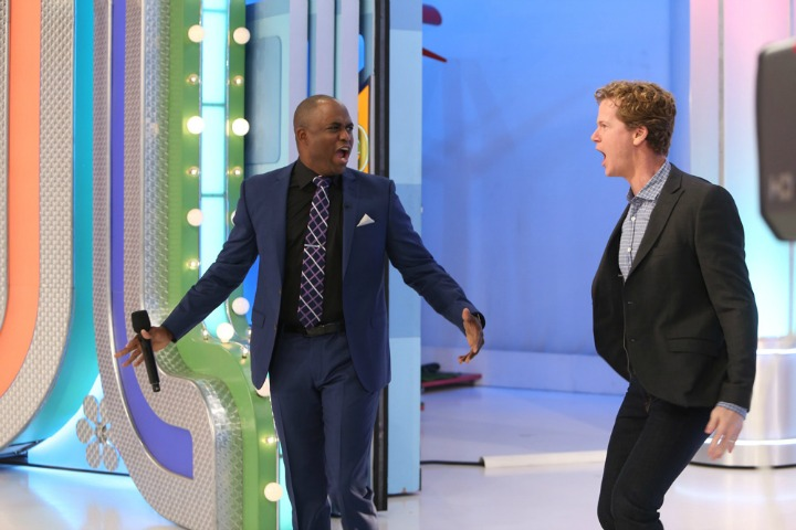 Wayne and Jonathan make their way onto The Price Is Right stage.