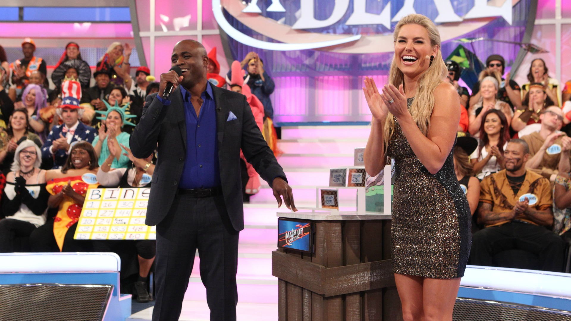 Rachel soaks in the sights while at Let's Make A Deal.
