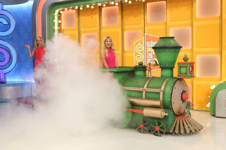 All aboard! Rachel and Tiffany make this train ride look good.